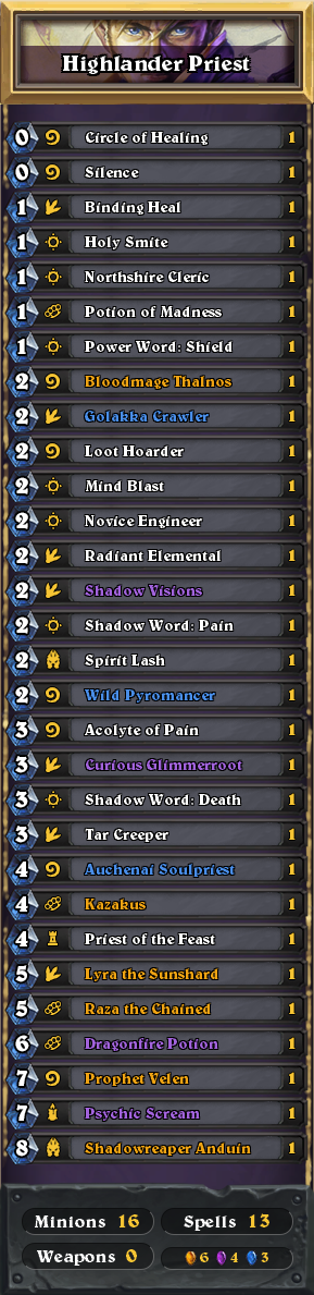 how to play highlander priest hearthstone